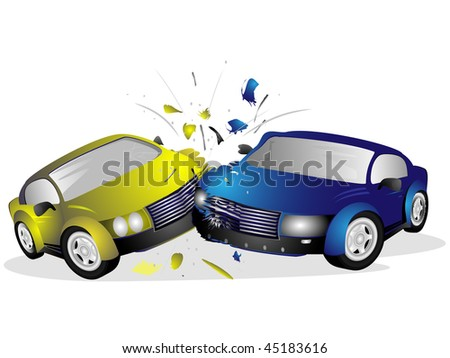 Two injured after a car accident on a white background - stock vector