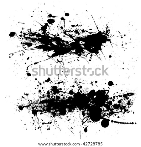 Two ink splat designs with dribble and paint spots - stock vector