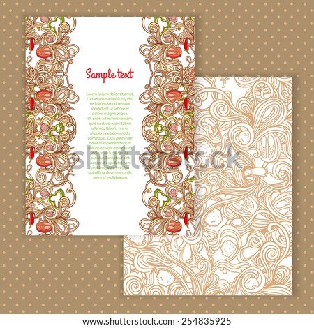 Two invitation card design with italian pasta illustration background. Vector design template for card, letter, banner, menu. Appetizing food pattern under mask. - stock vector