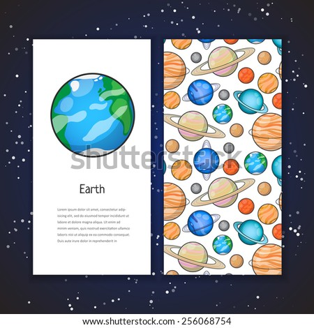 Two invitation card design planet illustration stock vector two invitation card design with planet illustration and space background vector design template for card stopboris Images