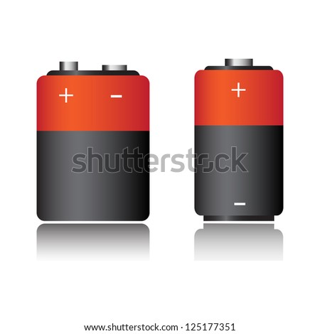 Two isolated batteries isolated on a white background - stock vector