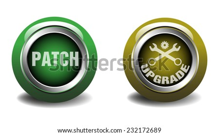 Two isolated buttons with the words patch and upgrade written on each button - stock vector