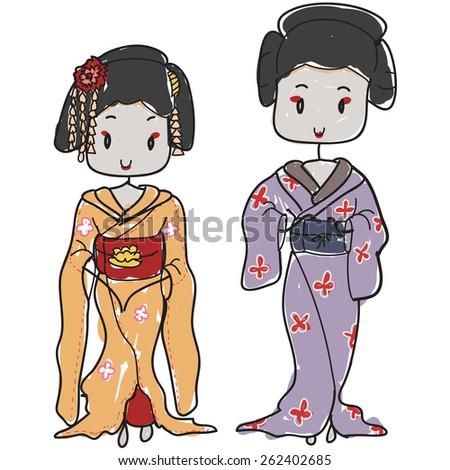 two isolated cartoon ancient Japanese geisha - stock vector