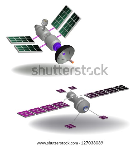 Two isolated communication satellites having various transponders, antennas, switching systems and solar cells - stock vector