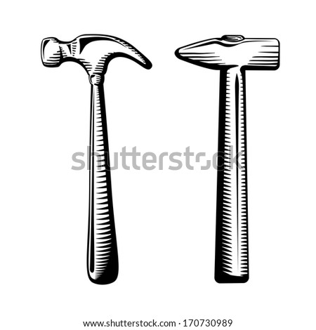 Two isolated hammers vector illustration