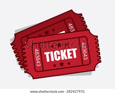 Two isolated red admission tickets  - stock vector