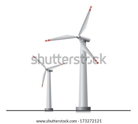 Two isolated wind turbines.  - stock vector