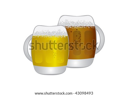 Two jugs of light and dark beer