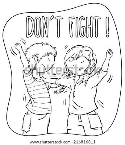 Two Kids Fighting (girl and boy) - Children Illustration For Coloring Book Design, Vector Cartoon About Bullying And Behavior Theme. - stock vector
