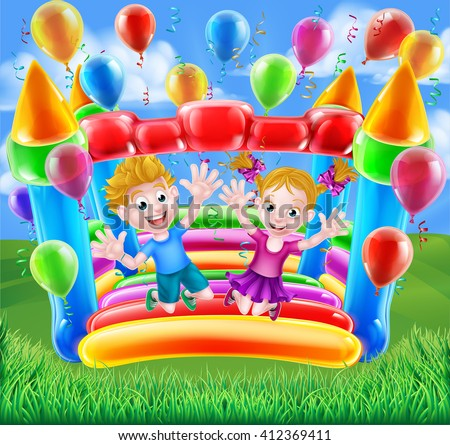 Two kids having fun jumping on a bouncy castle with balloons and streamers - stock vector