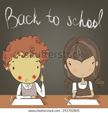 two kids in the classroom. - stock vector