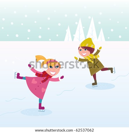 Two kids in winter costumes practicing ice skating on frozen lake. Vector cartoon illustration. - stock vector