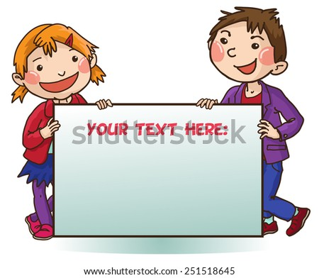 Two kids peeping behind one placard.Back to School isolated objects on white background. Great illustration for a school books and more. VECTOR. Editorial. Education. Advertising. Board. - stock vector