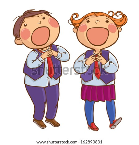 Two kids singing together. Back to School children illustration. Separate Objects on white background. Editorial. Education. VECTOR. - stock vector
