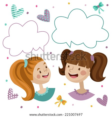Two Kids Talking Together Speech Bubble Stock Vector ...