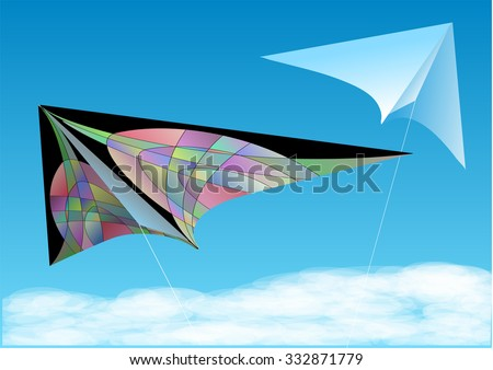 two kites in blue sky with cloud
