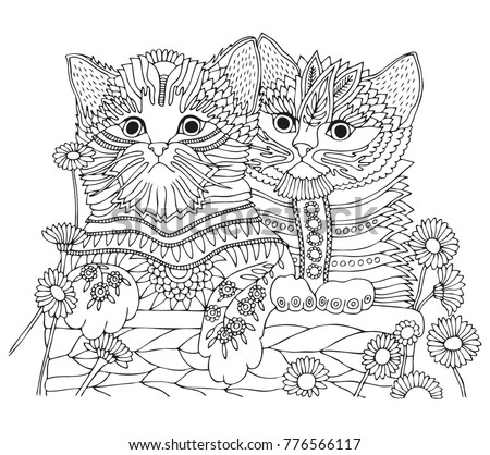 Two Kittens Basket Daisies Hand Drawn Stock Vector ...