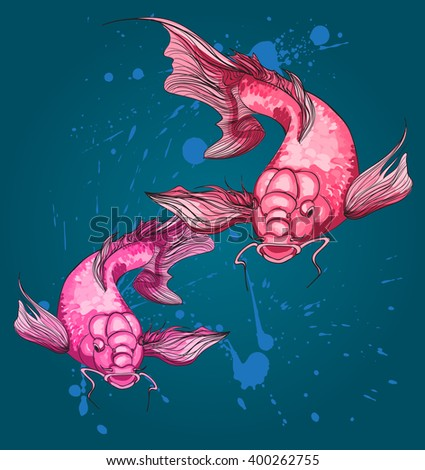 Two koi fish on grunge background. Japanese print with koi fish. Vector art illustration - stock vector