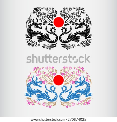 two label of Japan hanami festival blossom of sakura with dragons and red circle of japan middle.color and black  - stock vector