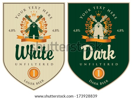 two labels for dark and white beer with mill - stock vector