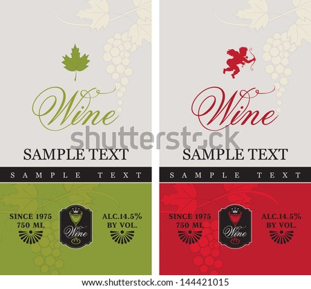 two labels for red and white wine with grapes and Cupid - stock vector