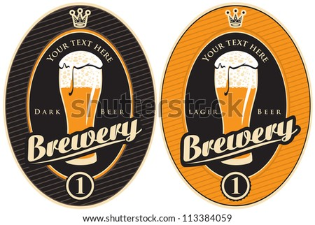 two labels for the brewery with a beer - stock vector