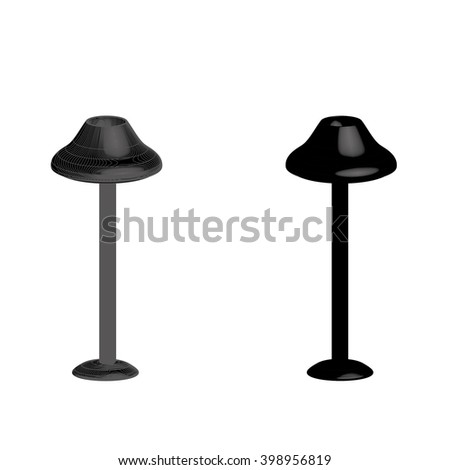 two lamps on a white background. One gray, the other black.Lamp logo.Lamp icon. Lamp 3D. Lamp Icon Vector / Lamp Icon Picture / Lamp Icon Drawing / Lamp Icon Image / Lamp Icon Graphic / Lamp Icon Art. - stock vector