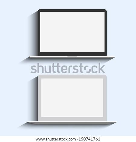 Two Laptops. Vector set - stock vector