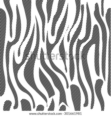 Two layouts expressive seamless zebra pattern. Safari collection. Abstract vector background with thin hatced stripes. White stripes on black 3. - stock vector