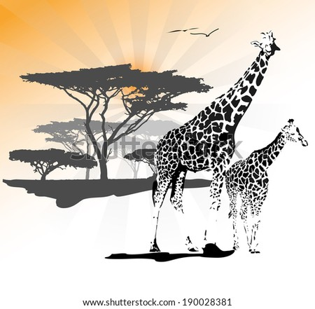 Two leopards lying on the savanna with tree in the background, vector illustration - stock vector