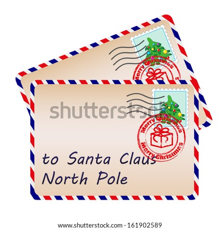 Two letters to Santa Claus with stamps and postage marks  - stock vector
