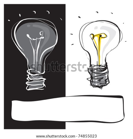 two light-bulbs black & white dynamic freehand line style - stock vector