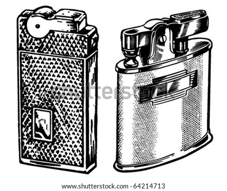 Two Lighters - Retro Clipart Illustration