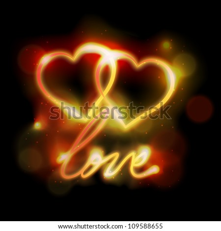 """Two ligth neon hearts and word """"love"""" on black background. Eps10 vector. - stock vector"""