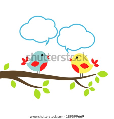 Two little birds with speech bubbles, communication concept, vector eps10 illustration - stock vector
