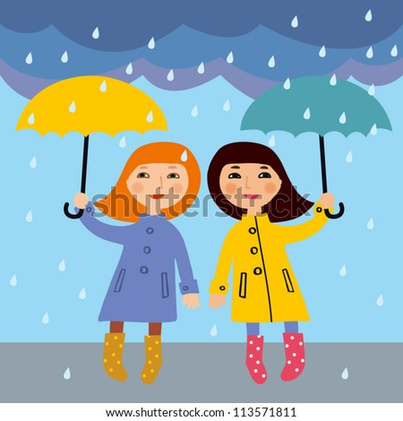 Two little girls in the rain, vector illustration