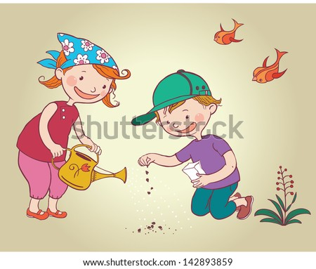Two Little Kids Children Planting Flowers Seeds. Children summer activity ideas.Children illustration for School books and more. Separate Objects. - stock vector