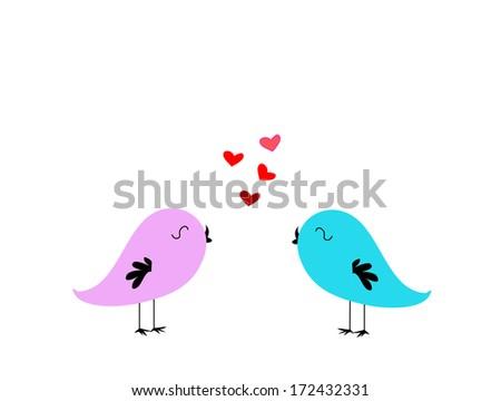 Two little love birds - stock vector