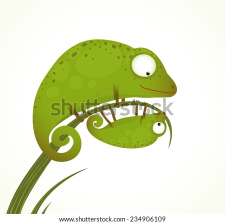 Two Lizards Mother and Baby Childish Animal Cartoon. Hand drawn watercolor style drawing of mom and child. Vector illustration EPS10. - stock vector