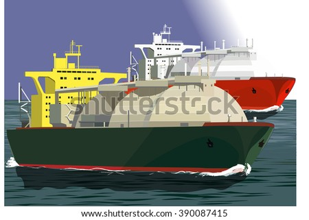 Two LNG tankers at sea, vector illustration