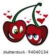 two lovely cherries - stock vector