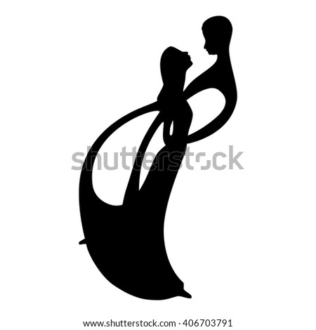 Two lovers dance silhouette. Two lovers vector illustration. Silhouettes of a dancing couple. Romantic couple. - stock vector