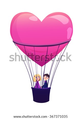 Two lovers in a balloon isolated on white background. Cartoon vector illustration. Valentines Day Card. - stock vector