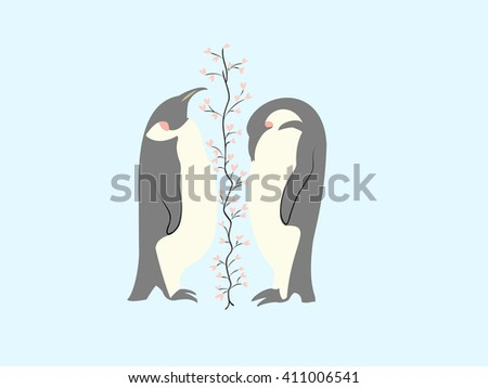 Two lovers penguin and tree of hearts - stock vector