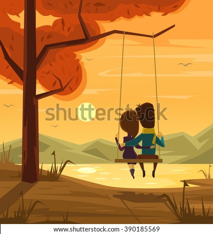 Two lovers sitting on swing at sunset. Vector flat cartoon illustration - stock vector