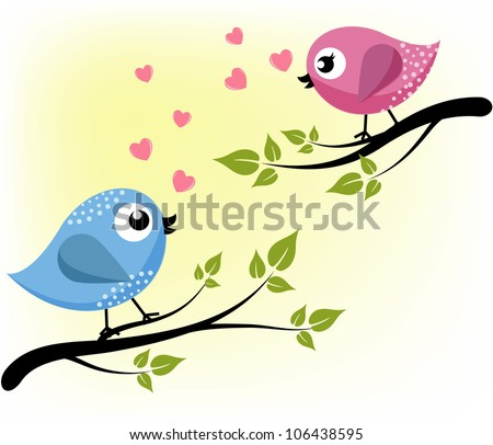 Two loving birds on the branches - stock vector