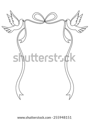 Two Loving White Pigeons Carrying A Ribbon Bow Beautiful Dove Clipart For Wedding Invitations