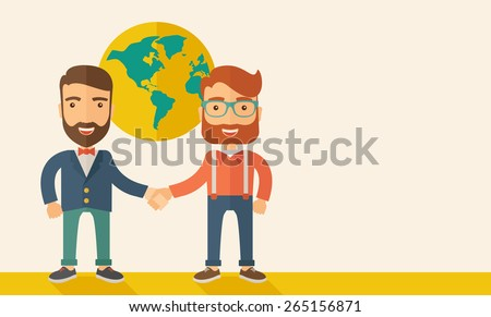 Two lucky hipster Caucasian businessmen with beard happily standing, holding their hands while working together telling the whole world that they are successful in their business partnership. Happy  - stock vector