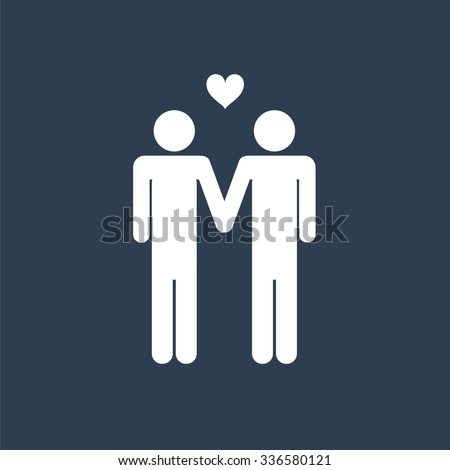 Two male stick figures holding hands icon, gay theme, homosexuals. - stock vector