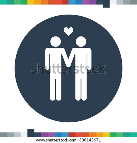 Two male stick figures holding hands icon with a heart on top of them, gay theme, homosexuals. - stock vector